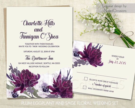 Bohemian Wedding Invitation Fall By Notedoccasions On Etsy Boho Invitations Set In Eggplant Wine Burgundy Sage And Tones Of Cream With