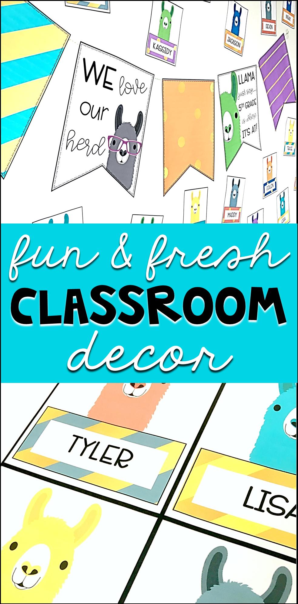 Llama Classroom Decor: Editable Banner and Name Tags -  Modern and fresh llama classroom banner and