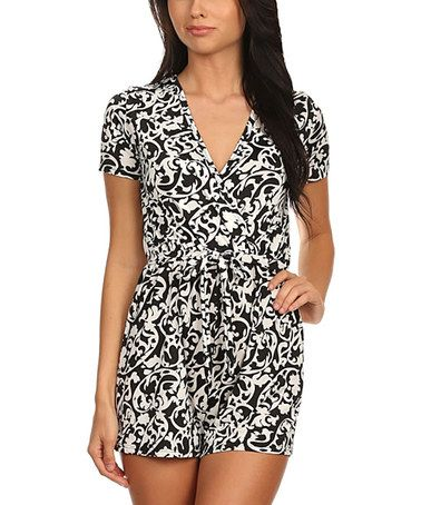 Another great find on #zulily! Black & White Damask Surplice Romper by Pretty Young Thing #zulilyfinds