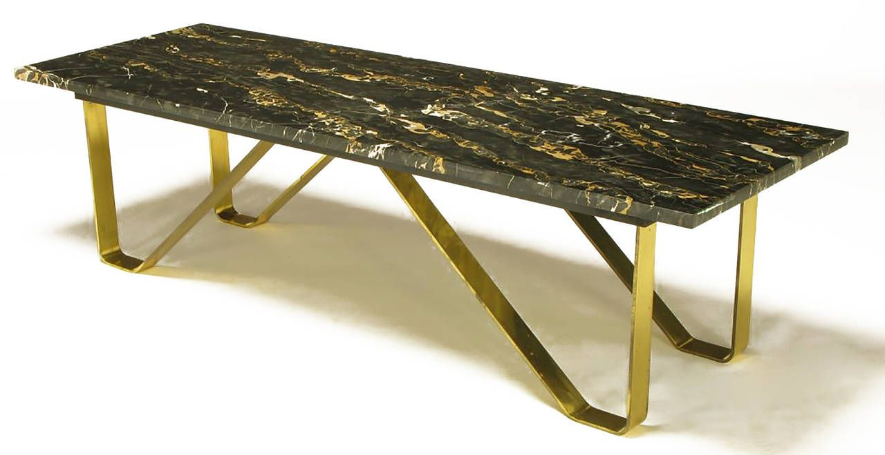 Custom italian portoro marble and brass coffee table