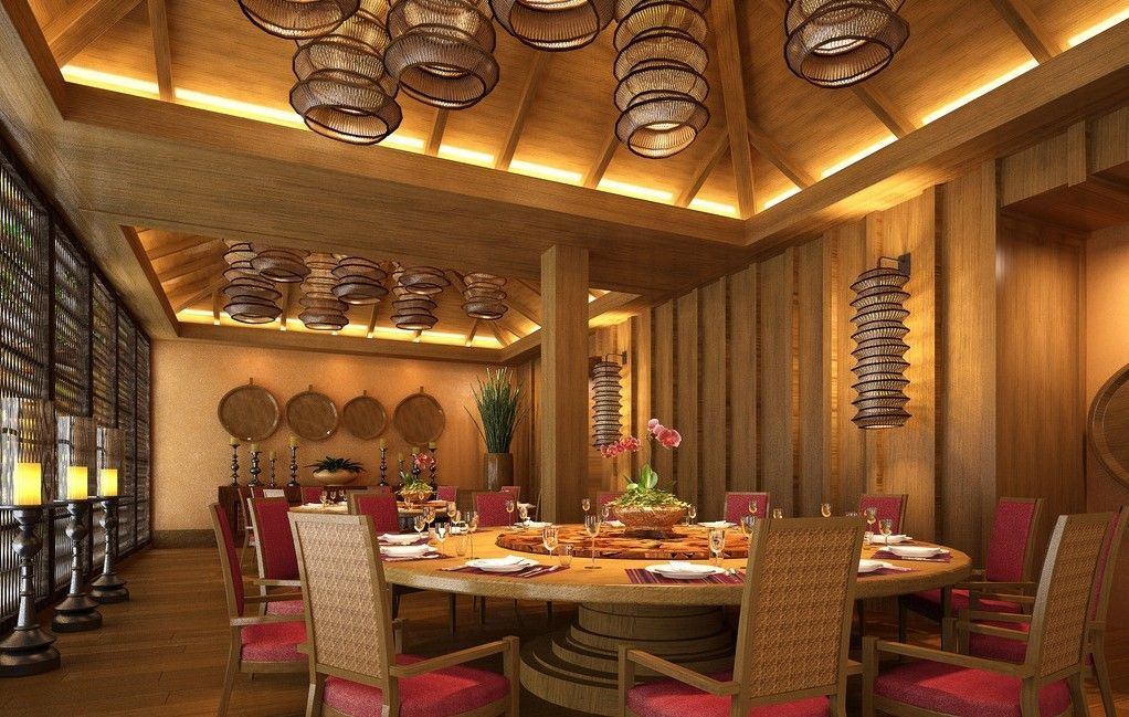 wood wall and ceiling with bamboo lamps in restaurant on great wall chinese restaurant id=14547