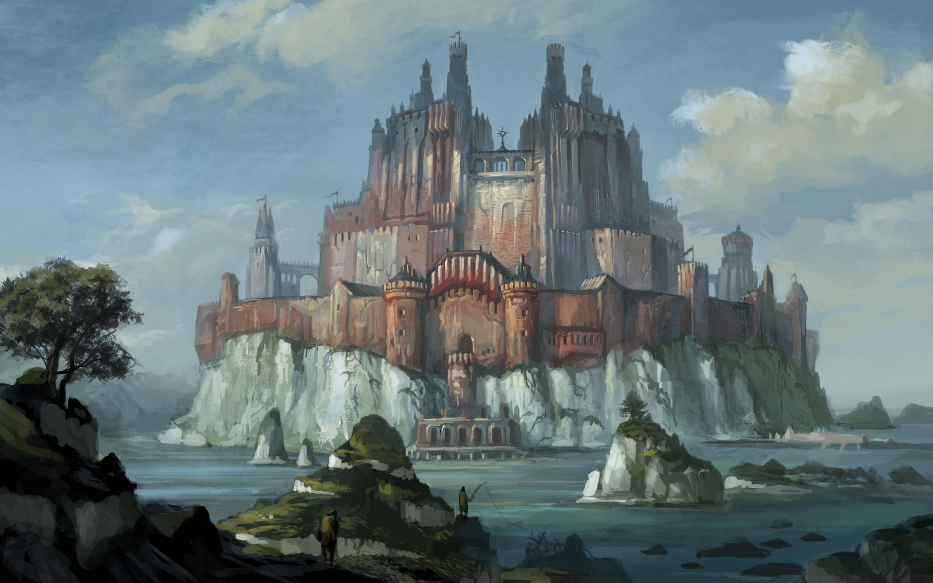 landscapes castles fantasy art - photo #31