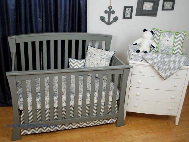 navy world map crib sheet with grey chevron toddler bedding