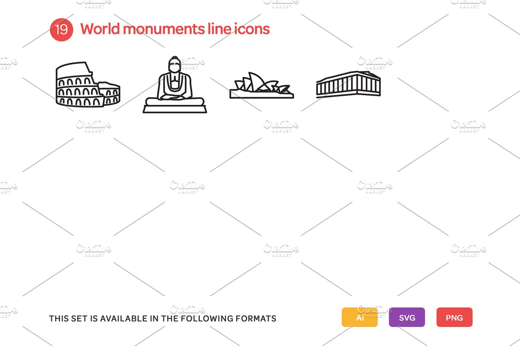 hight resolution of world monuments line icons set monuments world line set
