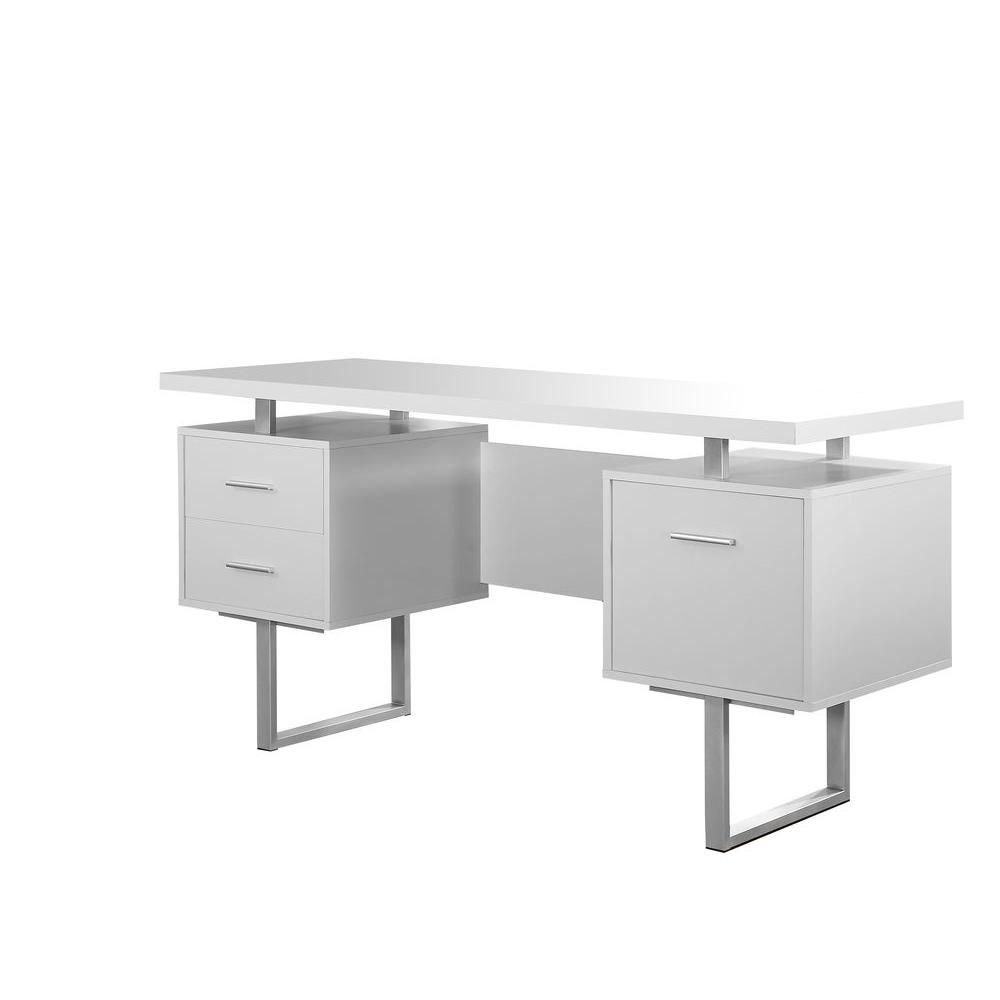Monarch Specialties White Desk With Drawers I 7081 The Home Depot Writing Desk Home Office Furniture Office Desk