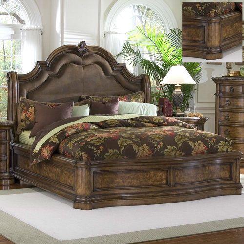 King Size Bed Frame Panel Upholstered Bedroom Furniture Wood Curved Antique Bedroom Bed Design Furniture Bed