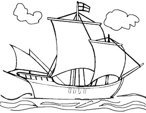 Christopher Columbus 3 Ships Coloring