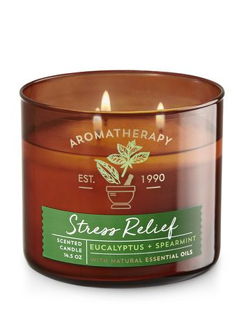 Aromatherapy Stress Relief Eucalyptus Spearmint 3 Wick Candle Bath And Body Wor Aromatherapy Candles Scented Candles Aromatherapy Bath Body Works Candles