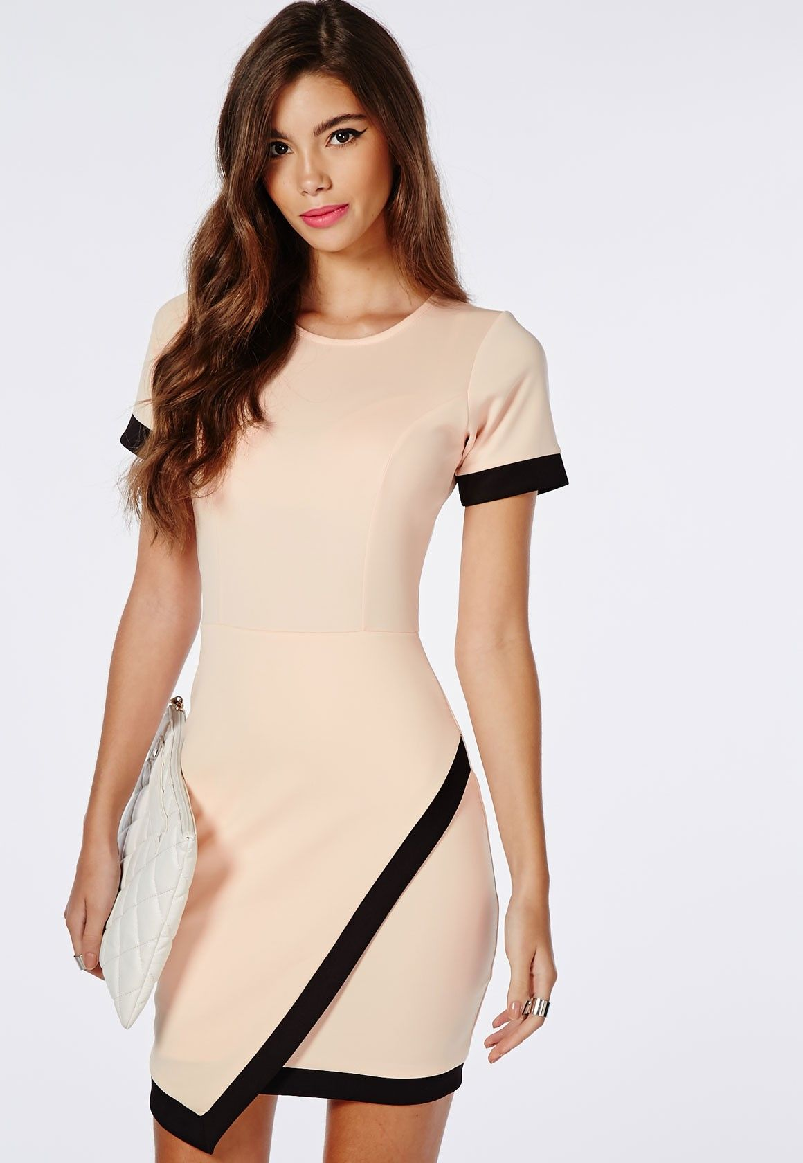 Missguided - Crepe Short Sleeve Asymmetric Bodycon Dress Baby Pink ...