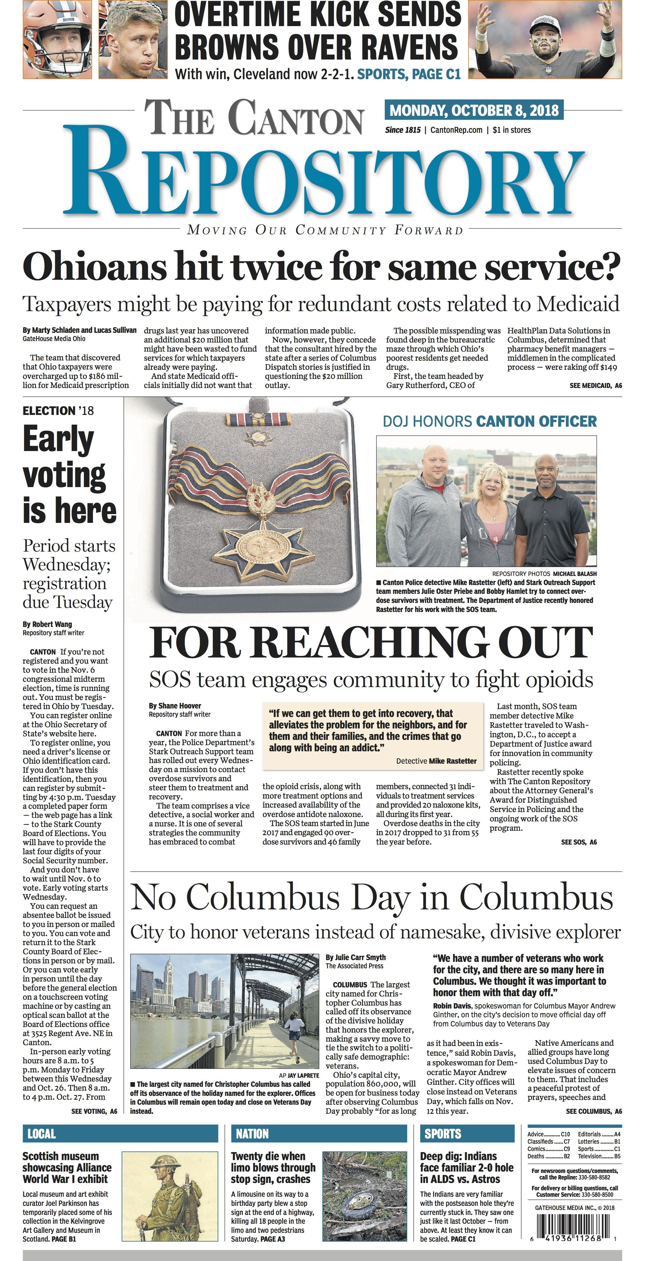 The front page of The Canton Repository for October 8