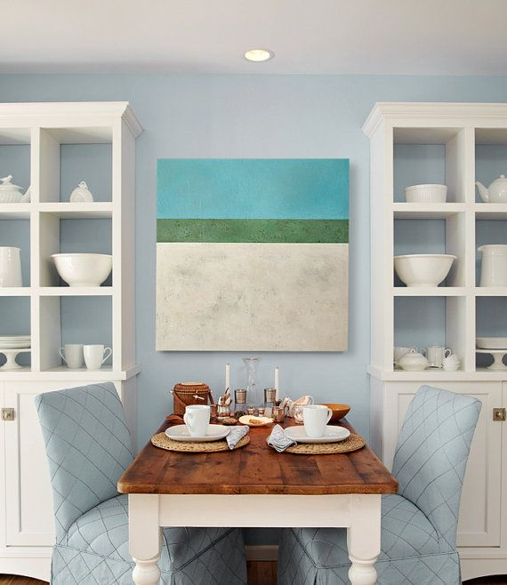 Large Coastal Wall Decor Contemporary Beach Abstract Landscape Painting Free Shipping
