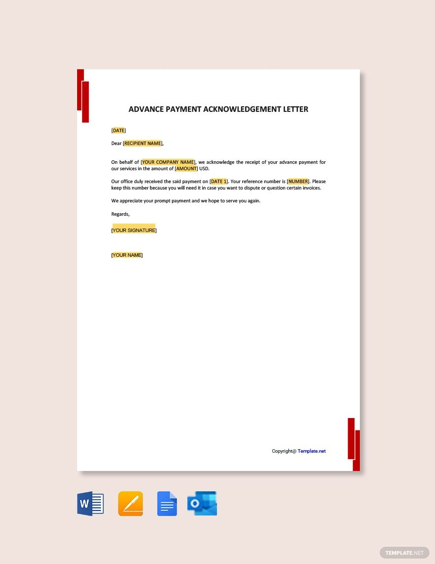 Advance Payment Acknowledgment Letter Template Free Pdf Google Docs Word Apple Pages Template Net Letter Templates Free Lettering Advance Payment