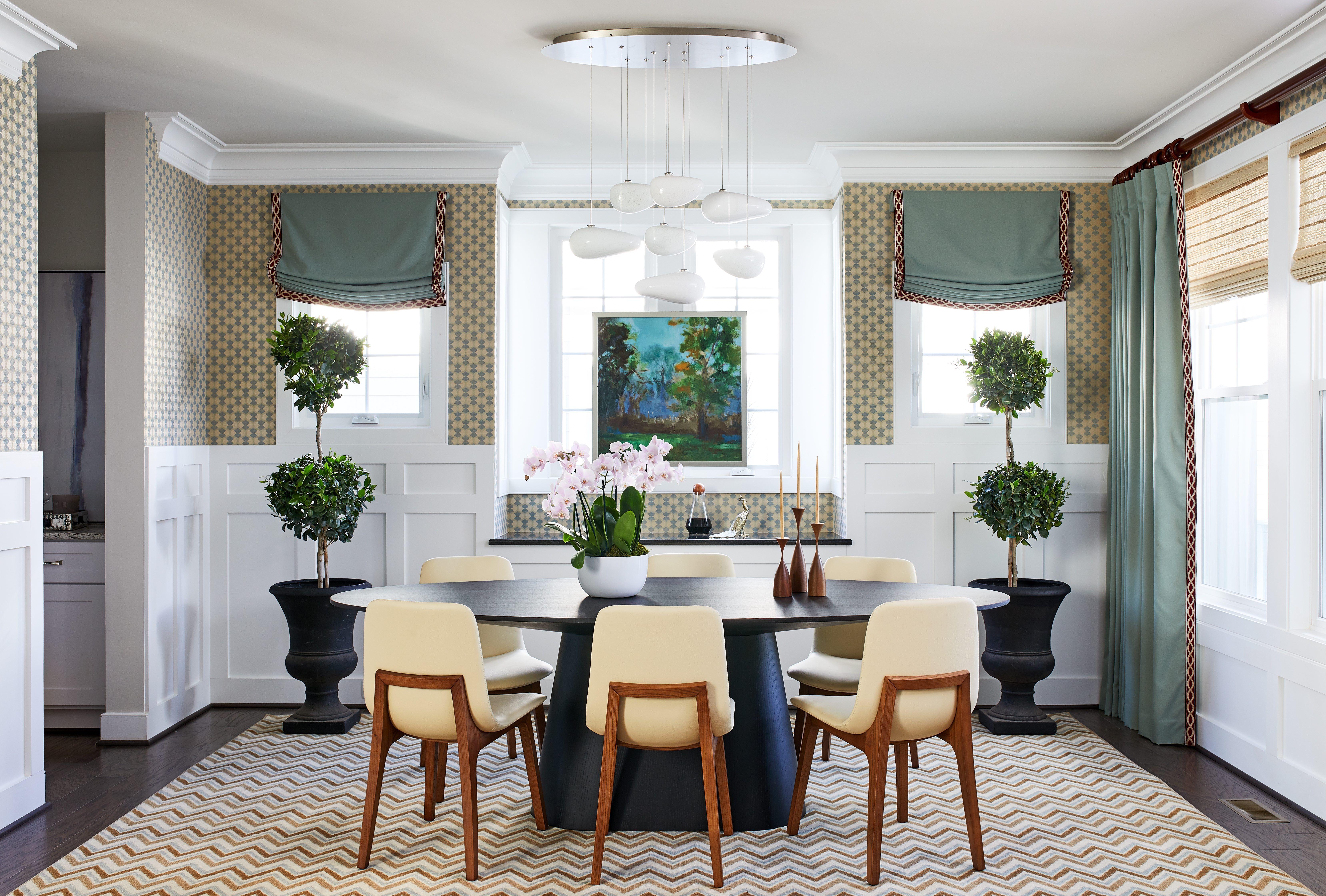 Wainscoting Grasscloth Chandelier Geometric Zig Zag Rug Walls Blue Drapes Shade Elegant Home Decor Boston Interiors Boston Interior Design