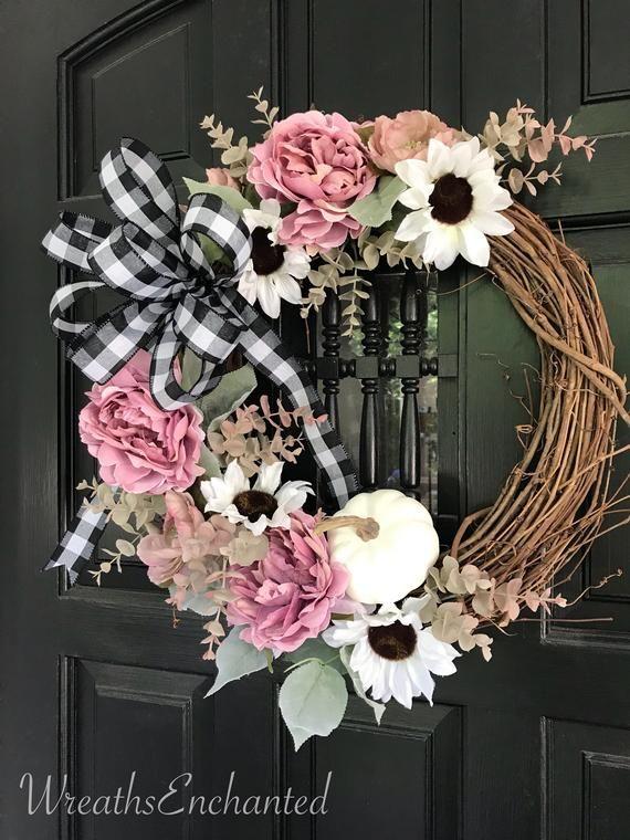 Photo of Fall Wreath Farmhouse Wreath Blush and White Sunflower Wreath Buffalo Check Bow Pink and White Wreath Front Door Wreath Gift Free Shipping