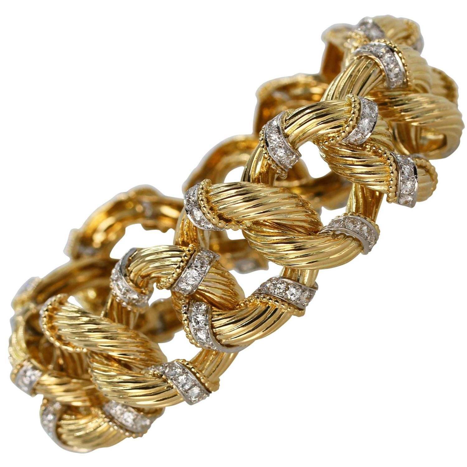 S van cleef and arpels diamond and gold bracelet pinterest