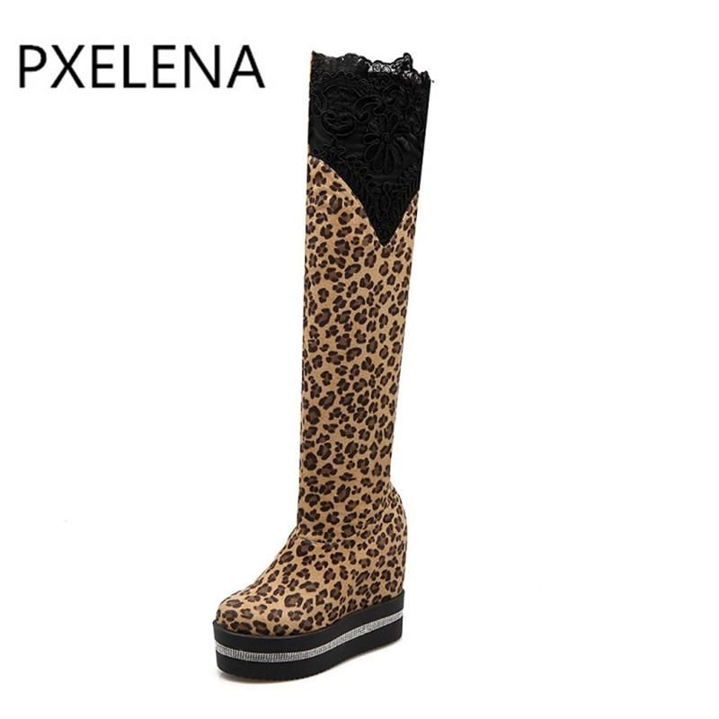 2018Women Winter Warm Fashion Bandage Suede Plush Lace-up High Heel Combat Boots