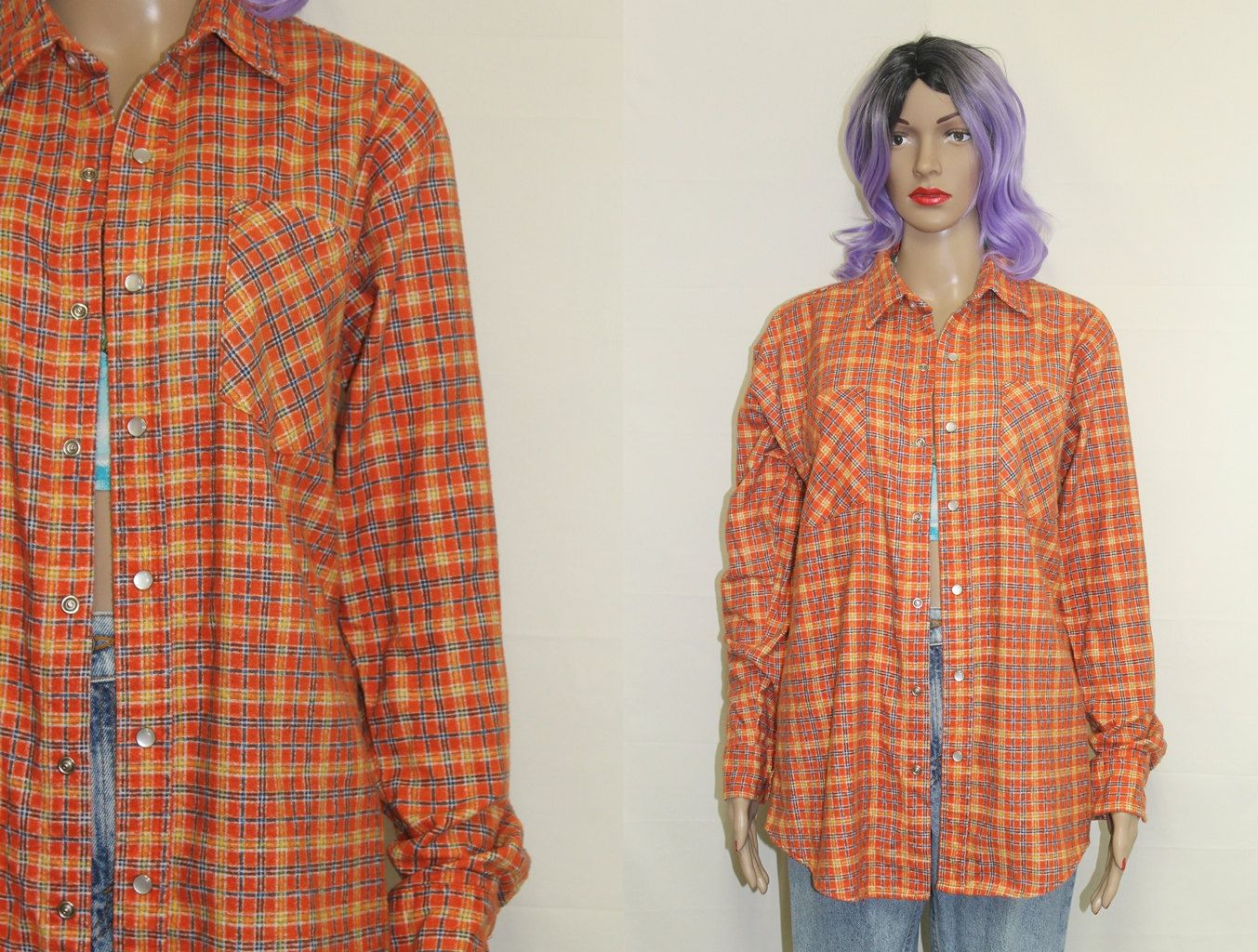 90s women fashion flannel  Orange Flannel Shirt  Womens Grunge Flannel Shirt Western Flannel