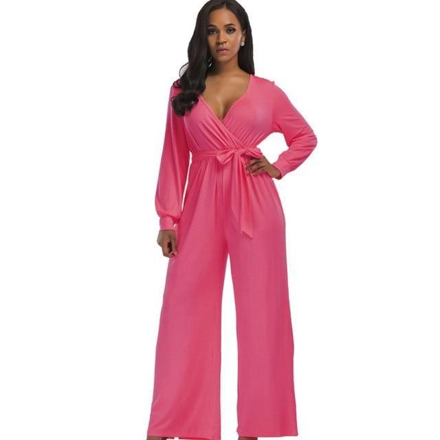 63a6fb43b98a 2018 sexy V neck Wide Leg Pants Elegant jumpsuits romper Blue Long Sleeve  Plus Size tunic Overalls For Women Combinaison Femme