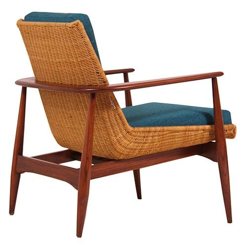 Lawrence Peabody Walnut And Wicker Lounge Chair For