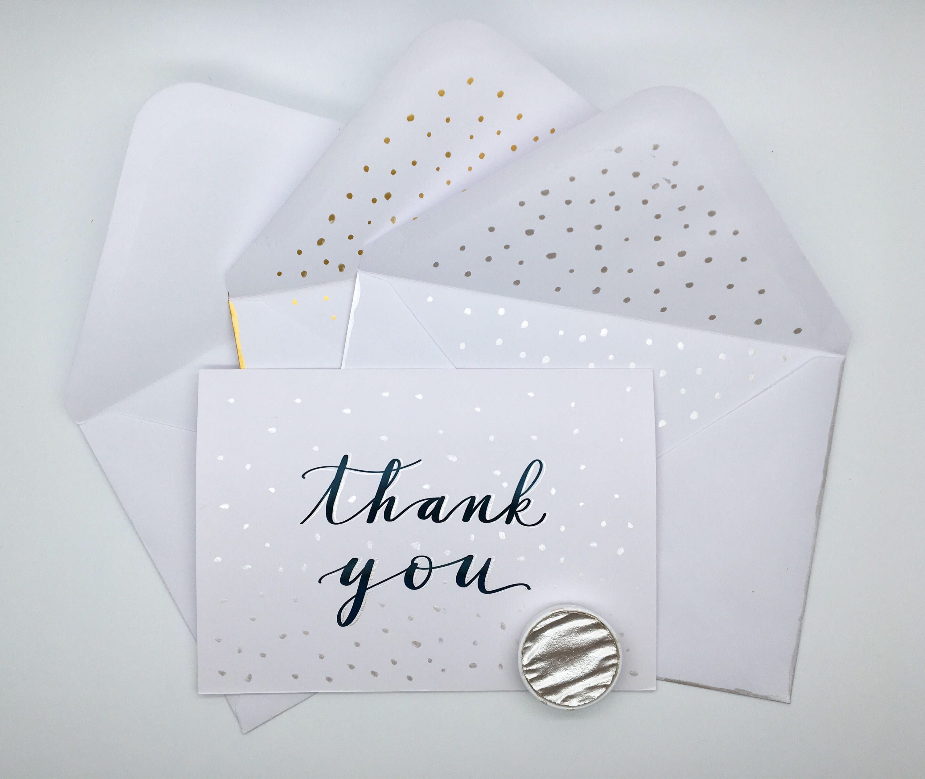 Set of 5 Black and silver thank you cards, hand lettered card ...