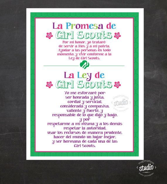 Spanish - Girl Scout Promise and Law Printable {Instant Download ...