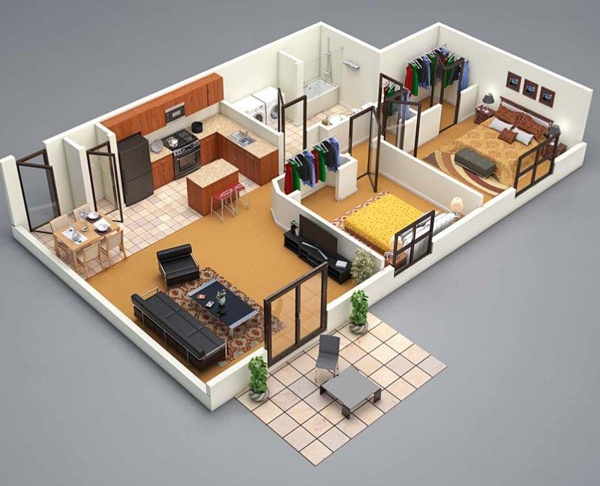 3d floor plan 2 bed | 3d house plans, Small house plans ...