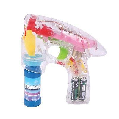 Flash BUBBLE GUN Kids Light Up Shooter LED Lights Party Bubbles Machine Gift