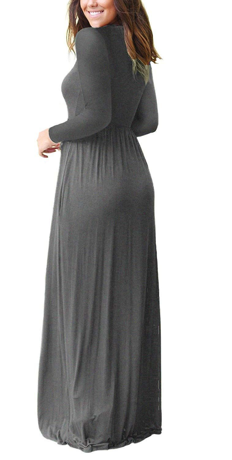 Misfay Women S Long Sleeve Loose Plain Maxi Dresses Casual Long Dresses With Pockets Sponsored Long Dress Casual Plain Maxi Dress Maxi Dress [ 1500 x 758 Pixel ]