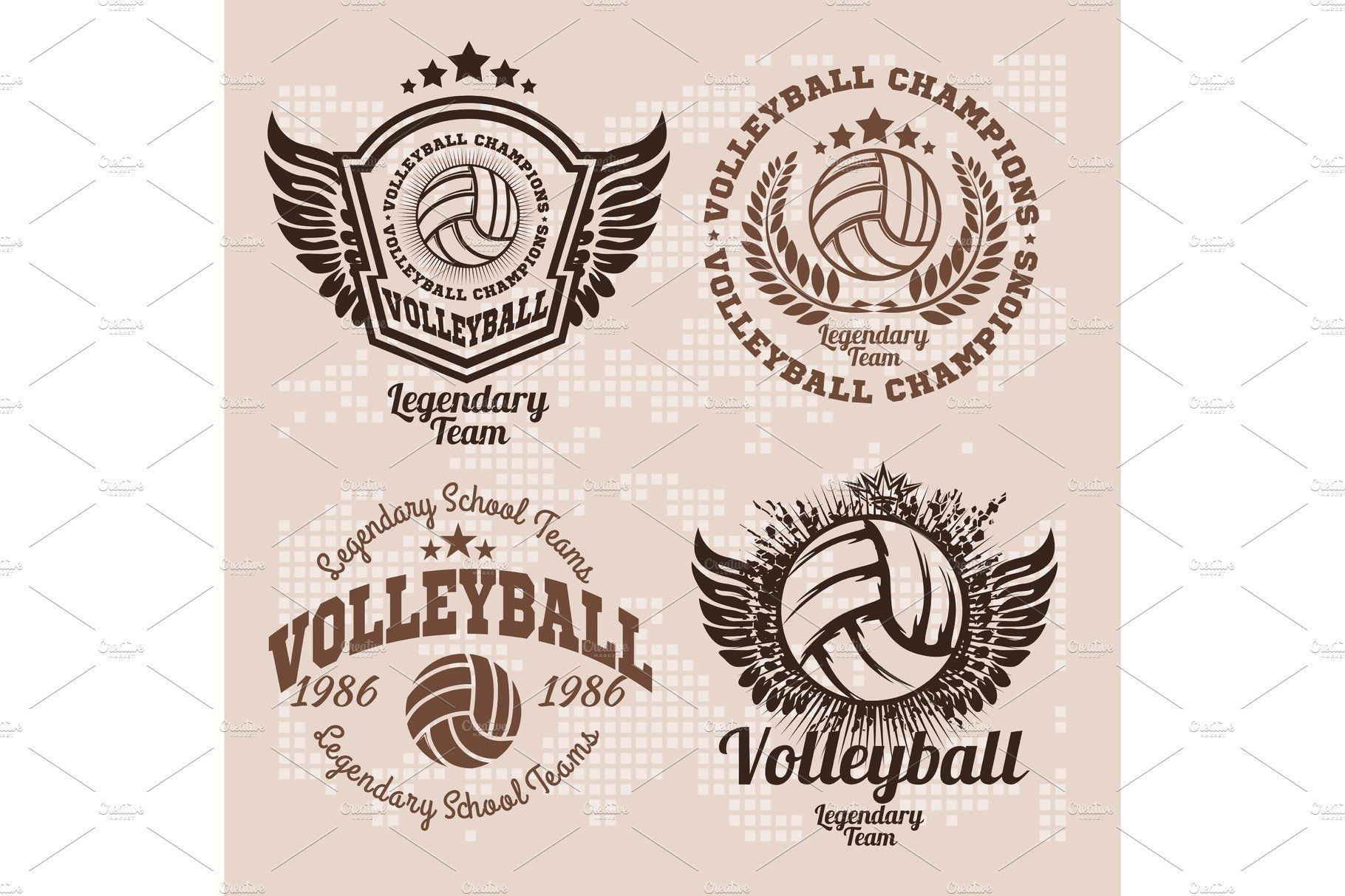 Set Badges Logos Volleyball Teams With Images Badge Logo Volleyball