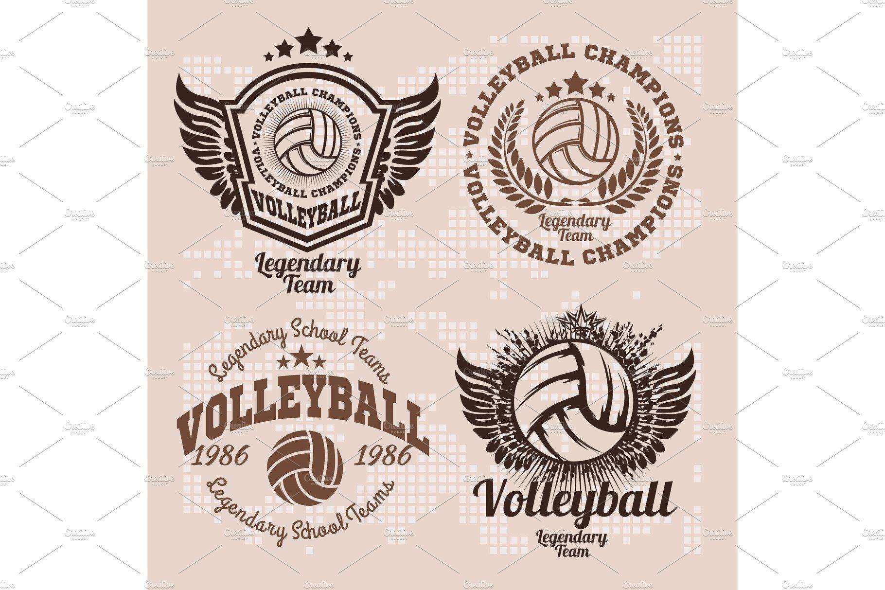 Set Badges Logos Volleyball Teams Volleyball Badge Logo Volleyball Team