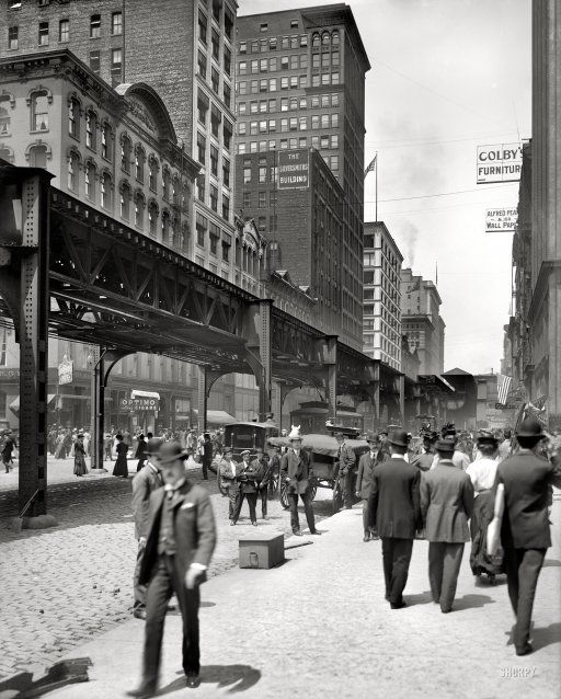 Chicago, 1907. Wabash Ave/El; plus a photo of the same view from 2007.