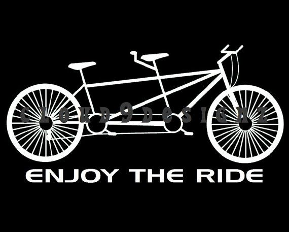"Black and White ""Enjoy the Ride"" Tandem Bicycle 8x10 Print"