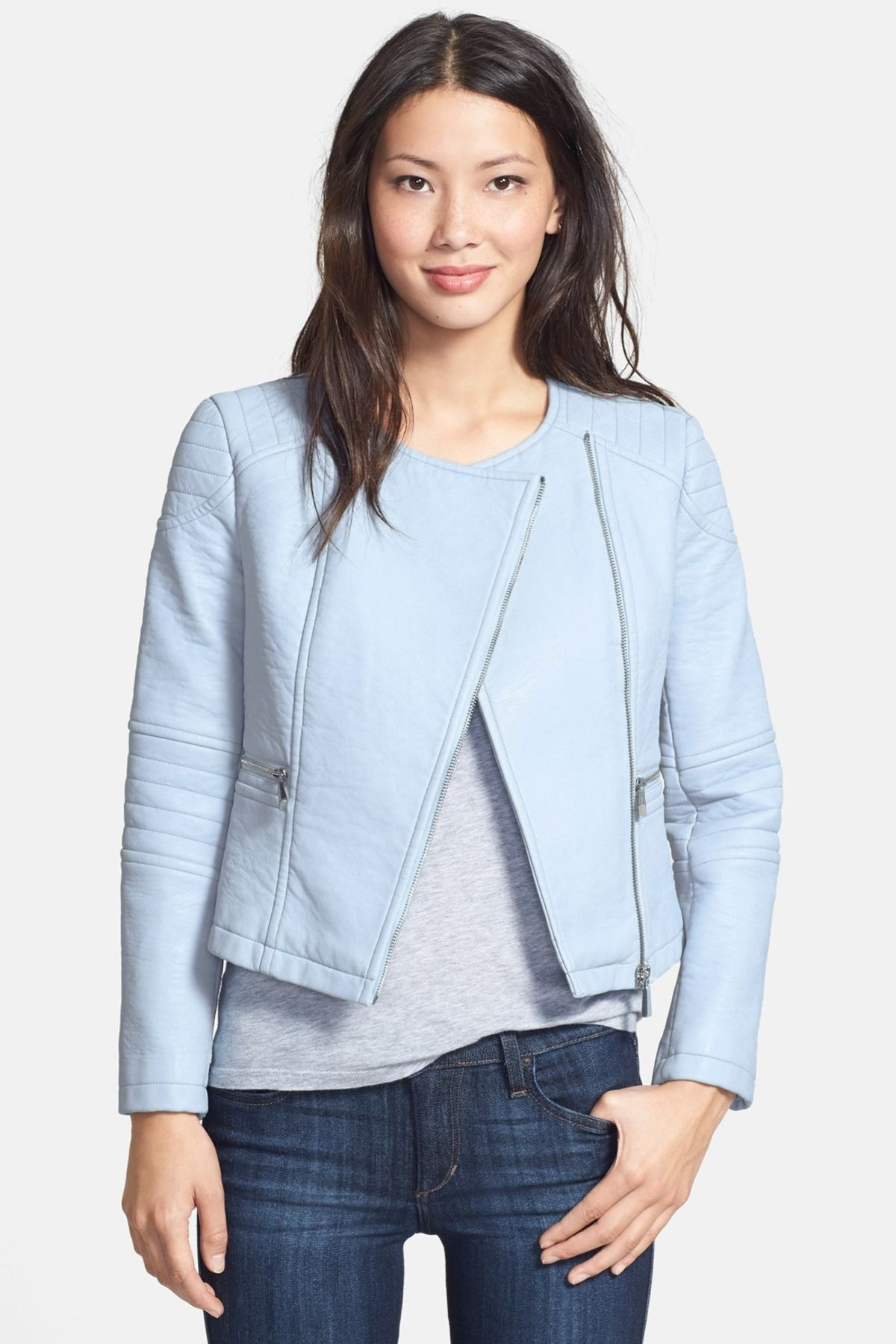 Collarless Faux Leather Jacket Petite Shopping Around