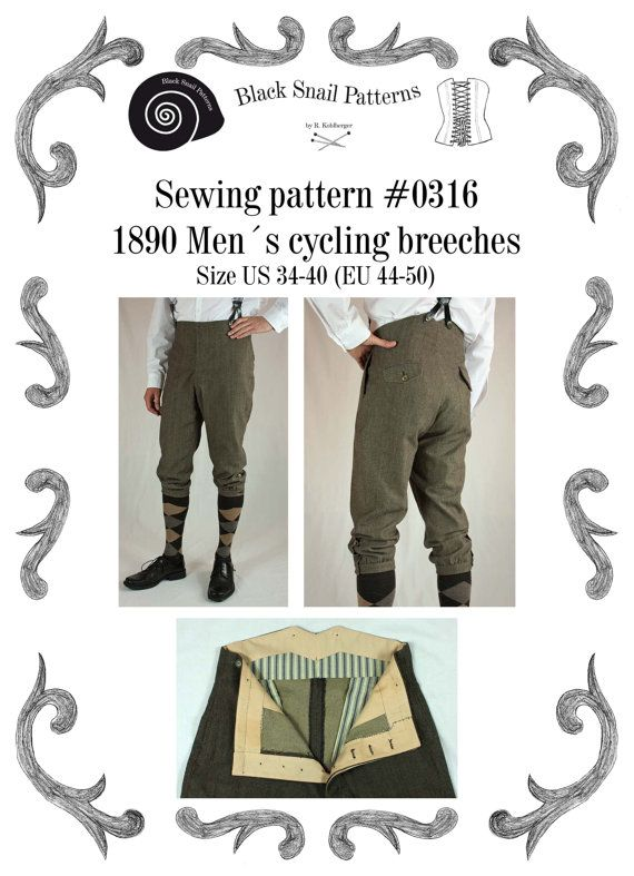 This is a sewing pattern for men´s cycling breeches worn about 1890 ...