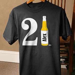 432096922 Personalized Birthday T-Shirts for Him - 21st Birthday Beer (White ...