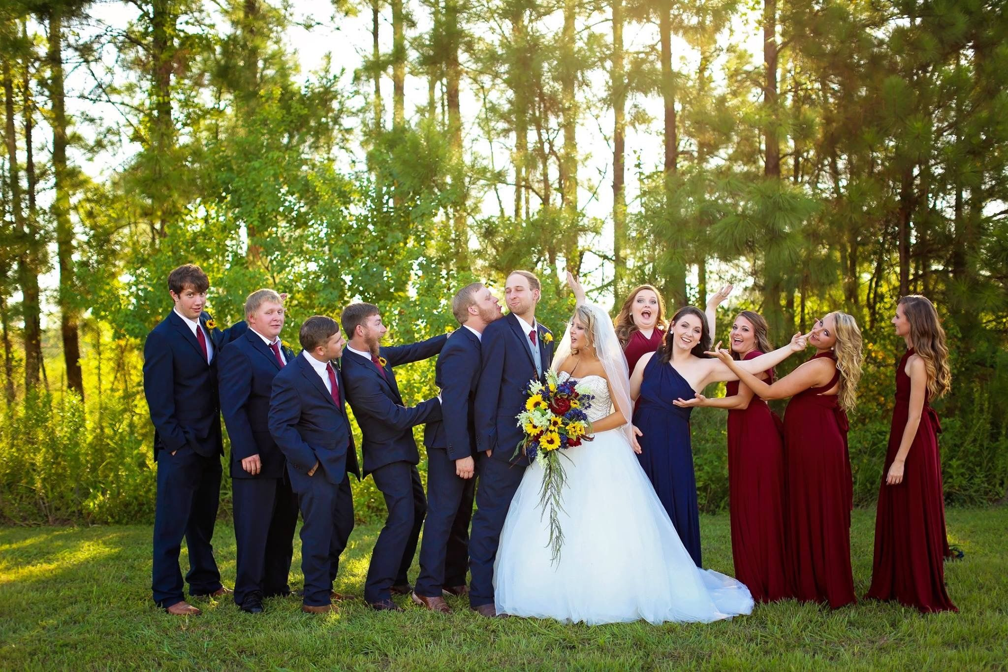burgundy navy wedding bride sunflowers bridal pary in 2019