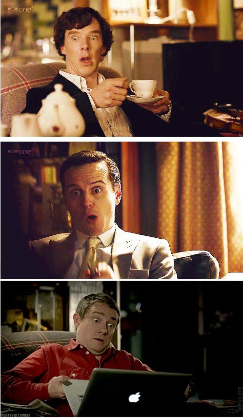 Benedict Cumberbatch (Sherlock Holmes), Andrew Scott (Jim Moriarty) and Martin Freeman (John Watson) - Sherlock