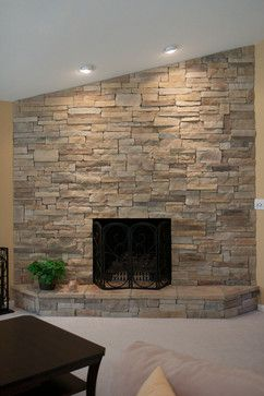 Dry Stacked Stone Fireplace Design Ideas Pictures Remodel And Decor Stacked Stone Fireplaces Travertine Stone Fireplace Stone Fireplace