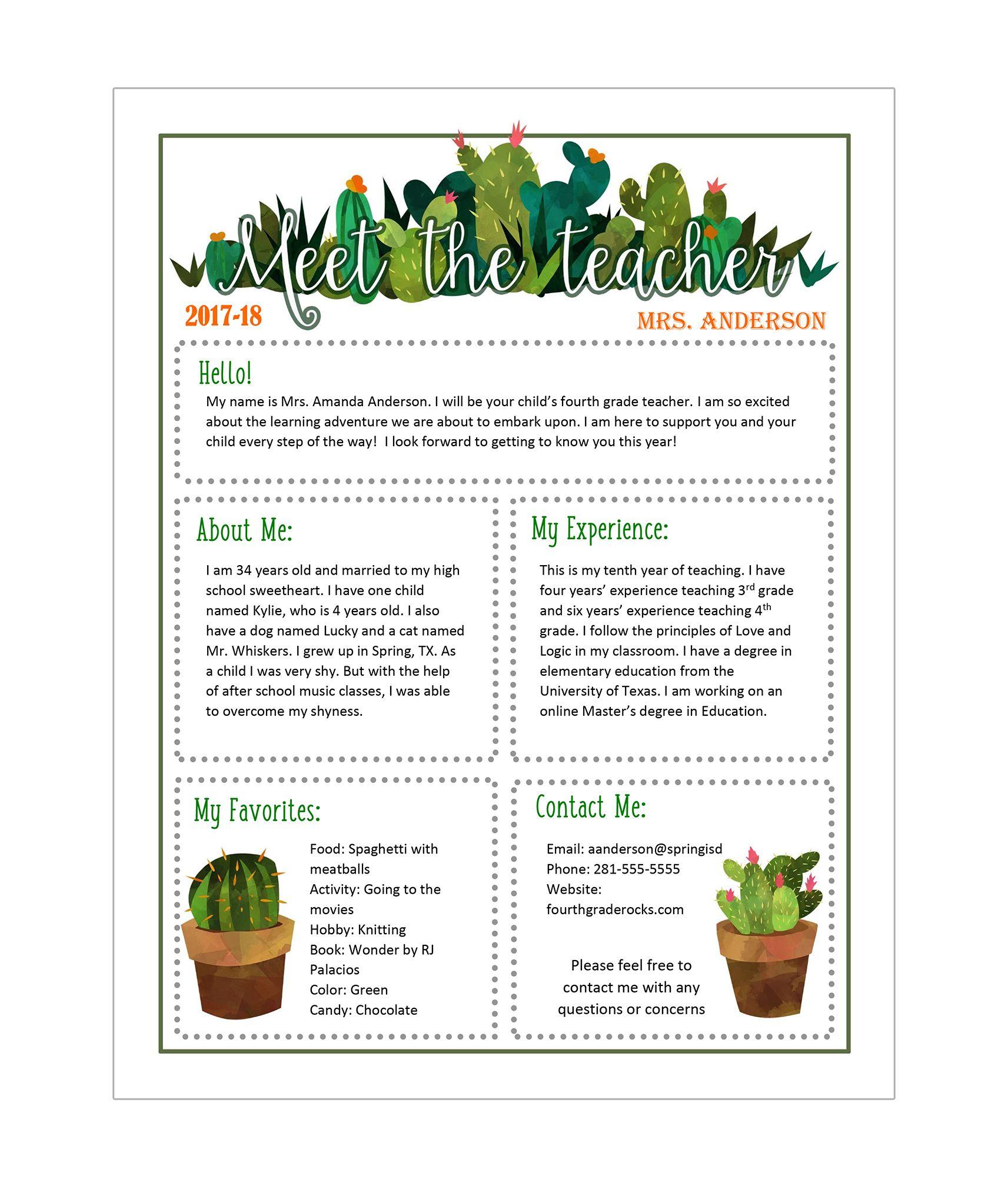 meet the teacher template editable cactus themed newsletter  doc  ppt