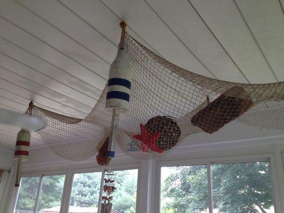 Hanging Fishing Net From The Ceiling Fish Net Decor Beach Inspired Decor Fishnet
