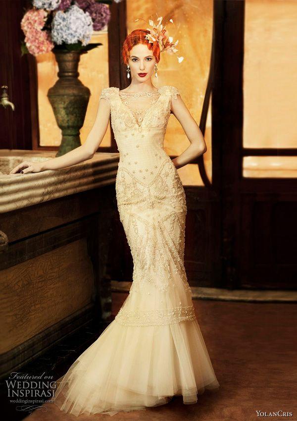 Art Deco style wedding dresses from Yolan Cris 2011 Revival Vintage  collection - Almeria 261d2fabca9