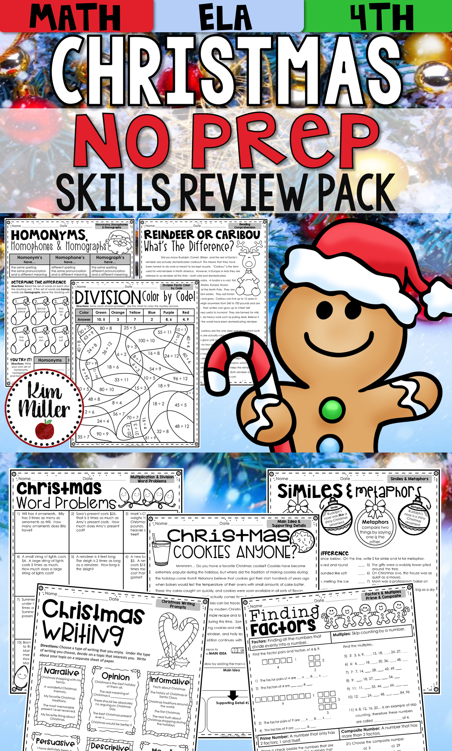 Christmas Activities Math And Reading Worksheets