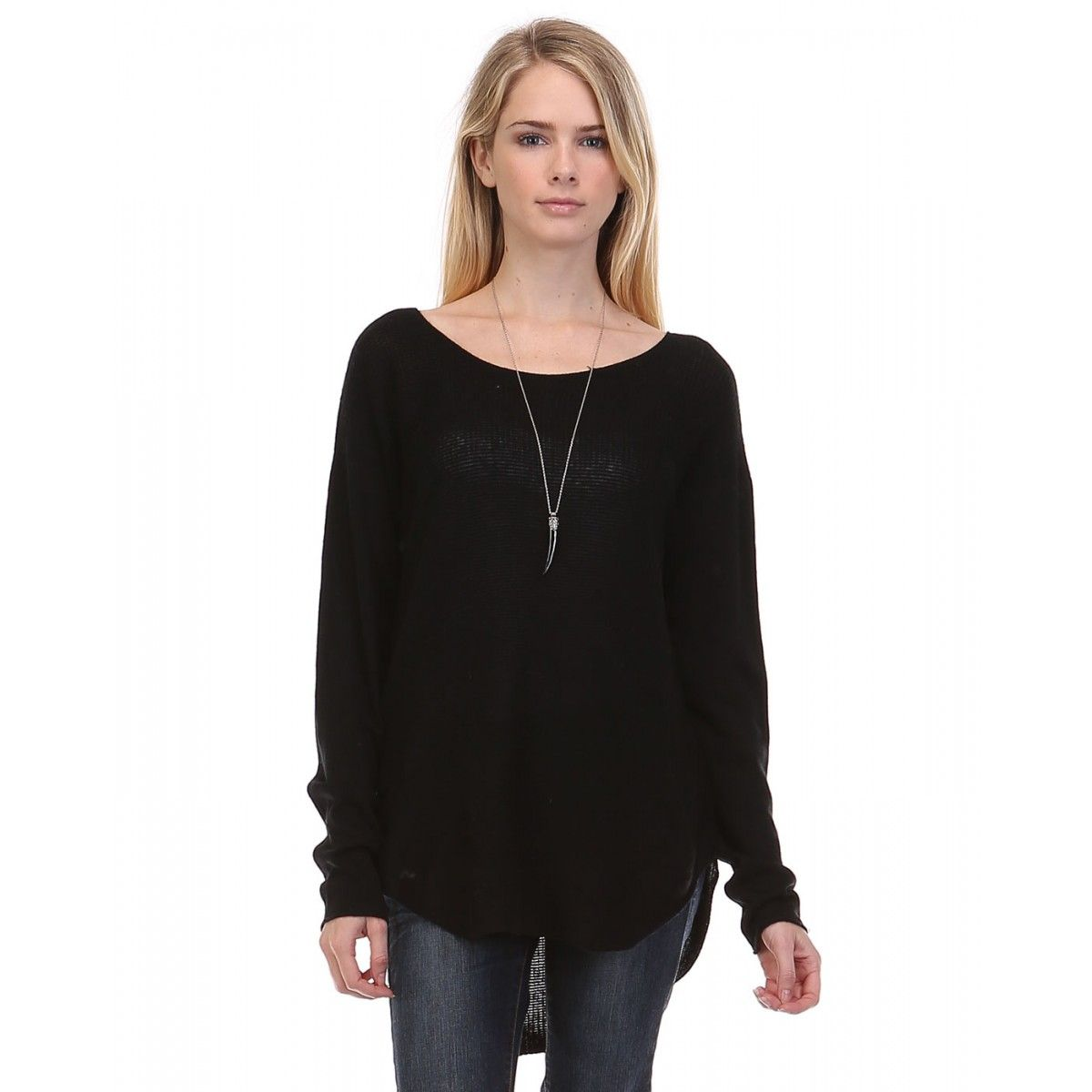 $52  LIGHT WEIGHT PULLOVER SWEATER - BLACK