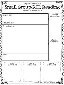 RTI: Small Group & Intervention Templates (Documentation