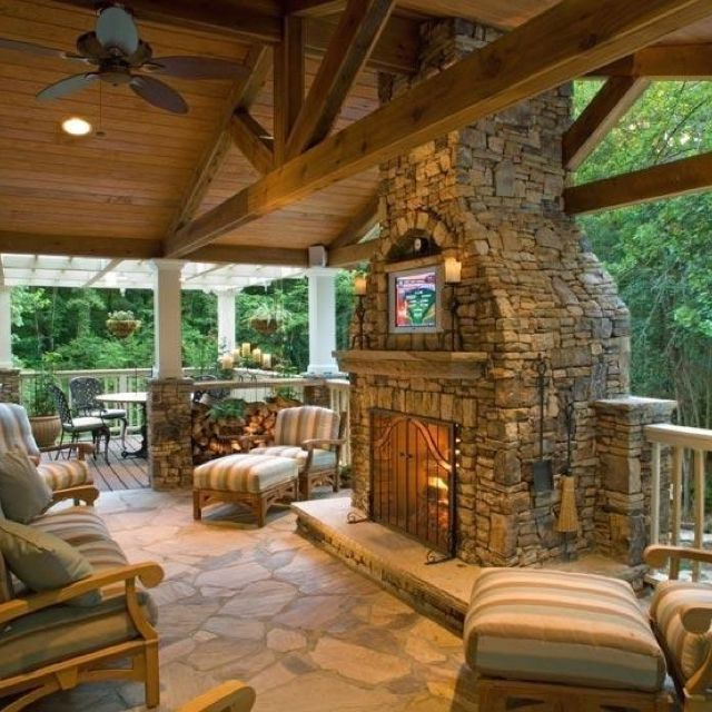 Outdoor Fireplace, Outdoor Patios With Fireplaces Design