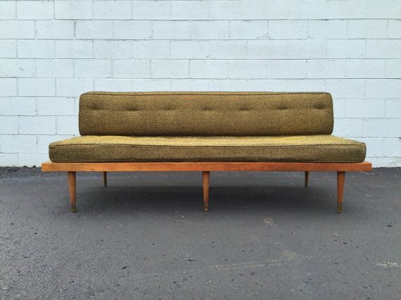 $850 U2013 Well Constructed Mid Century Daybed Features Platform Base On Peg  Legs W/ Removable