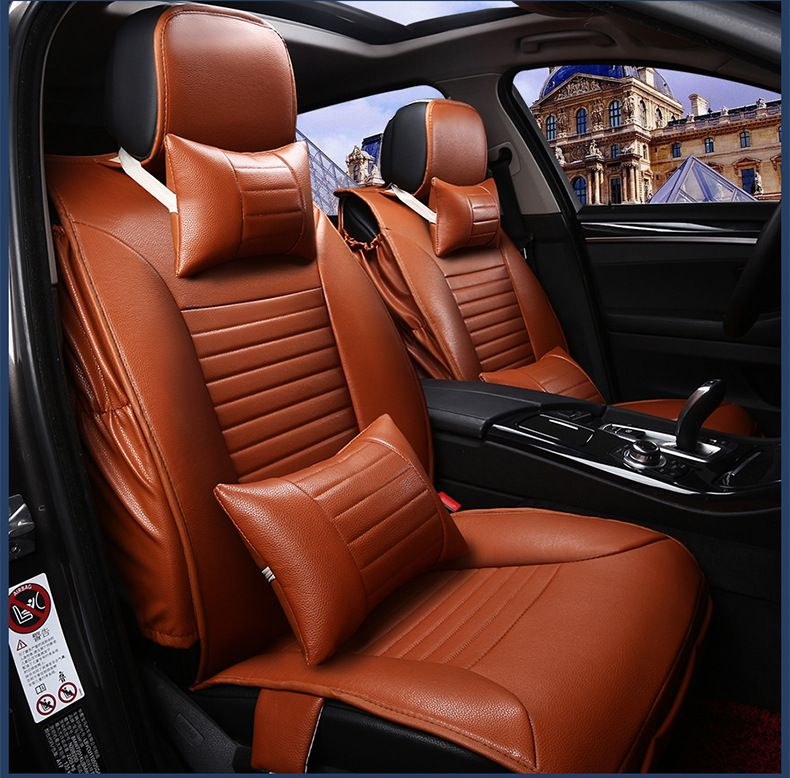 Luxury Brand Yellow Black Waterproof Firm Pu Leather Car Seat Cover Install Easy Frontrear Full Accessories