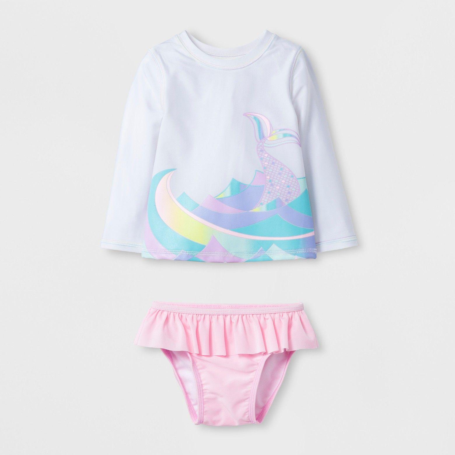 Target Baby Girl Clothes Baby Girls' Waves Rash Guard Set  Cat & Jack™ White  Target  Baby