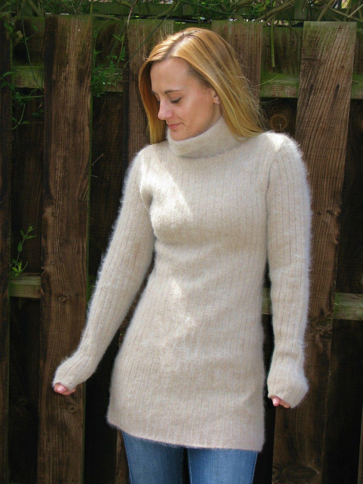 Brown Soft Fluffy Angora Sweater Jumper Dress s 32