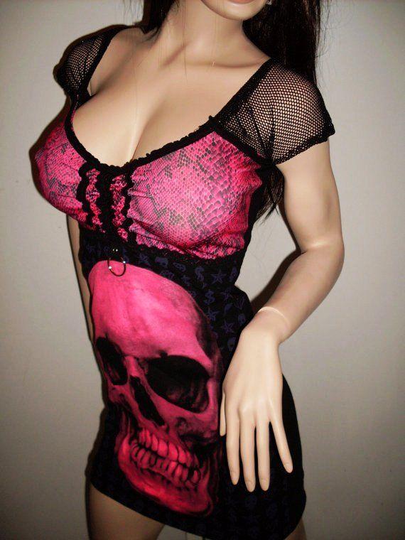 DIY Pink Skull Mini Dress CORSET Gothic Heavy Metal Halloween Punk Clubwear Zombie Monster Dark